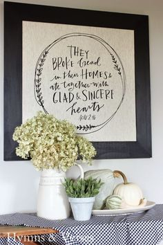 Acts 2:46 Framed Tea Towel, Grace & Gratitude Pitcher and Platter - Hymns and Verses
