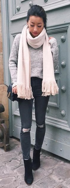 Grey Knit / Light Pink Fringe Scarf / Dark Ripped Skinny Jeans / Black Booties