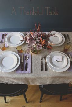 a simple + sophisticated thanksgiving table // lilac + orange + linen