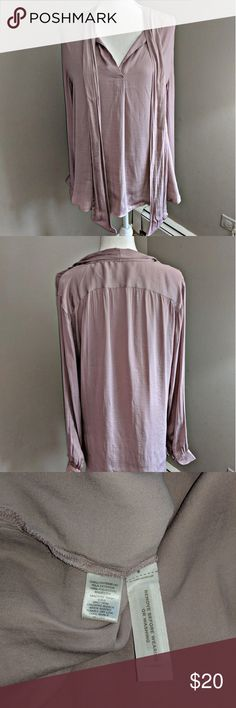 LOFT Beige LS Chiffon V Neck Blouse Large Ann Taylor LOFT chiffon v neck blouse. I would call the color a dark beige but honestly in certain lights it has hints of rose and lavender. Sleeves button at the wrist. Great used condition LOFT Tops Blouses