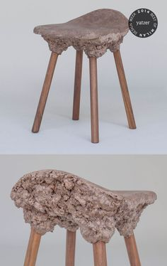 Well Proven Stools by Marjan van Aubel & James Shaw (foam wood from bioresin and waste).