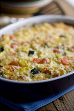 A typical Provençal gratin, bound with rice and egg, which can be used for any gratins made of cooked vegetables.