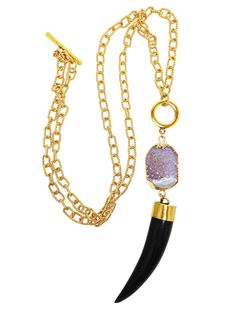 - Gorgeous 14k Gold filled textured chain - 24k Gold dipped Druzy stone, each stone is hand picked and unique in color and shape. - Black Horn Pendant with Gold cap - This necklace is versatile and ca