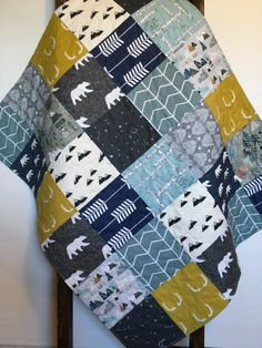 Baby Boy Quilt-Woodland Quilt-Deer Quilt-Adventure Awaits-Bear-Arrow-Neutral-Mountains-Boy Crib Bedding-Constellation-Flannel-Boy Blanket by SewAndArrowQuilts on Etsy https://www.etsy.com/listing/505359489/baby-boy-quilt-woodland-quilt-deer-quilt