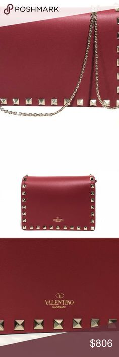 """Valentino Rockstud Evening Red Cross Body Bag Valentino Rockstud Evening Red Cross Body Bag. Brand new rig dustbag and box.  Flap magnetic closure.  Fabric lining.  Calf leather.  Made in Italy. Size - 6.5""""L x 5""""H x 2.5""""W Valentino Bags Crossbody Bags"""