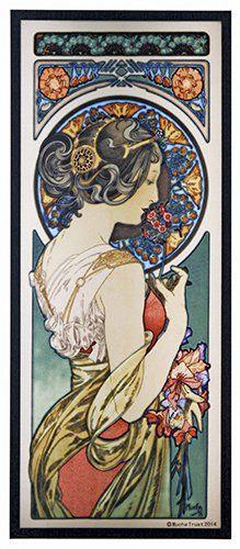 Alphonse Mucha - PRIMROSE - Stained Glass Panel Art Nouveau Maiden 1899