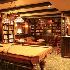 English Pub style basement - traditional - basement - portland - Pilgrims Custom Cabinets & Construction