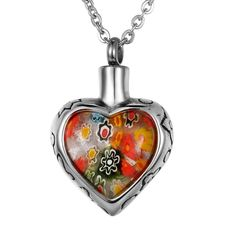 VALYRIA Jewelry Colorful Murano Flowers Heart Charm Urn Keepsake Cremation Ashes Necklace -- To view further for this item, visit the image link. (This is an affiliate link and I receive a commission for the sales)