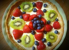 Easy, light and delicious! This tart comes in at less than 300 calories per serving! Kiwi Berries, Sugar Sticks, Sugar Free Jello, Nonfat Greek Yogurt, Berry Tart, Self Rising Flour, 300 Calories, Recipe Notes, Banana Cream