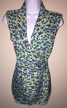 Ann Taylor Turquoise Print Sleeveless Side Snap Wrap Top Shirt Size 6   eBay