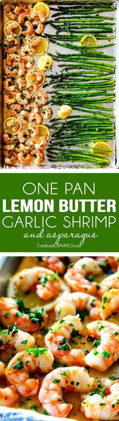 One Pan Roasted Lemon Butter Garlic Shrimp and Asparagus bursting with flavor and on your table in 15 MINUTES! No joke! The easiest, most satisfying meal that tastes totally gourmet! Garlic Shrimp Recipes, Shrimp Dinner Recipes, Easy Shrimp Recipes, Easy Asparagus Recipes, No Carb Dinner Recipes, Rice And Asparagus Recipe, No Carb Meal Ideas, Whole30 Shrimp Recipes, Asparagus Meals