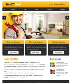 Free Website Template with Slideshow for Maintenance Business – Home Maintenance Free Website Templates, Psd Templates, Page Design, Web Design, Construction Wallpaper, Welding Services, Professional Presentation, Business, Web Free
