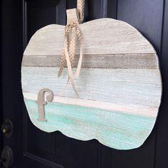 Wooden Pumpkin Door Hanger Beach/Cottage Pumpkin by CleverGoose