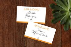 """Minimalist Display"" - Bold typographic, Modern Wedding Place Cards in Tangerine…"