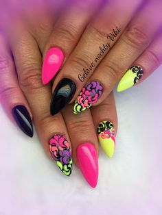 Elegant and Cute Acrylic Nail Designs, unique ideas for you to try in special day or event. Funky Nail Art, Funky Nails, Dope Nails, Neon Nails, Bling Nails, Swag Nails, Cute Acrylic Nail Designs, Cute Acrylic Nails, Nail Art Designs