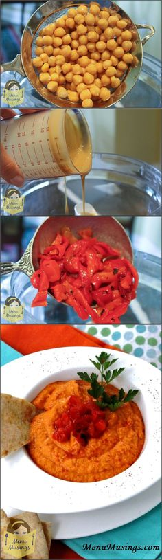 Roasted Red Pepper Hummus - Sure, you can pick some up at the market, but it is so insanely easy to make (not to mention tastes great) that there's no reason not to make it from scratch. Basically, you dump it all into the food processor and give it a whirl! Step-by-step photos!
