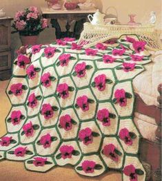 Maggie's Crochet · Fuchsia Pansy Afghan Crochet Pattern #crochet #afghan #pattern #pansy #flower #spring
