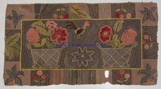 """GRAPHIC AMERICAN FOLK ART HOOKED RUG, central rooster flanked by two baskets filled with flowers, the border executed in an album style with blocks of flowers, leaves and abstract star-like devices. Mid-Atlantic or New England. Second half 19th century. 36"""" x 64""""."""