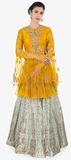 Mint green brocade lehenga paired with mustard thigh length long top only on Kalki Party Wear Indian Dresses, Pakistani Bridal Dresses, Indian Wedding Outfits, Indian Outfits, Lehenga Top, Brocade Lehenga, Net Lehenga, Anarkali, Kurti Designs Party Wear
