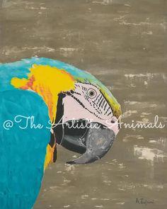 Canvas print of original painting Animal painting Macaw