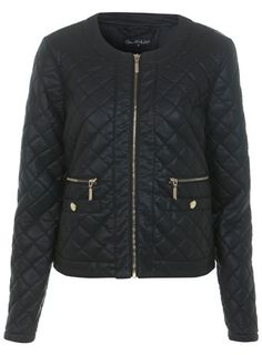 Faux Leather Quilted Jacket - Miss Selfridge price: £57.00