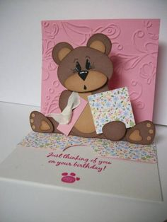 Sliding Pop-up Bear Card by MrsBoz - Cards and Paper Crafts at Splitcoaststampers Kids Cards, Baby Cards, Paper Art, Paper Crafts, Tarjetas Pop Up, Bear Card, Travel Design, Pop Up Cards, Paper Toys