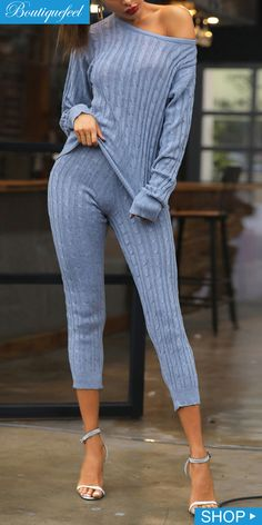 454db8fde2e Shop Solid Long Sleeve Round Neck Top   Pant Sets – Discover sexy women  fashion at IVRose