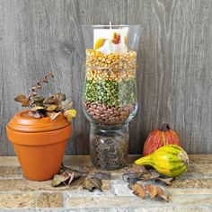 These Halloween DIY projects will dress up your home & yard for the season. Transform your home into a haunted house with these chilling & easy decor ideas Diy Projects Quick And Easy, Pumpkin Table Decorations, Fall Vignettes, Autumn Table, Hurricane Lamps, Autumn Decorating, Easy Halloween, Craft Activities, Holiday Crafts
