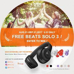 $299 Beats Solo 3 Wireless Headphone Giveaway Aug.21-Sep.21,2017 https://www.facebook.com/testmug/