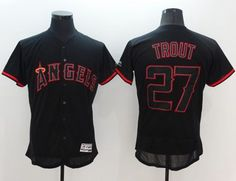 ae5c33c7 Angels of Anaheim #27 Mike Trout Black Fashion Flexbase Authentic  Collection Stitched MLB Jersey Spring