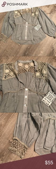 2d8dfb727bf97 NWT Free People Crotche Button Down Color: Misty Willow, Bluey Green Crochet  Button Down