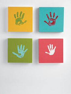 mother's day ideas...nice decor too!  Easy for kids to do on affordable small canvas...