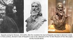 Sculptor N. L. Aronson Sticks Portrait G. E. Rasputin. 1915
