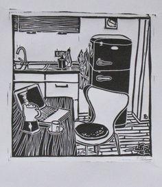 Originaldruck - Linoldruck – Kaffeepause, 50er Auflage - ein Designerstück von Britta-Schoen bei DaWanda
