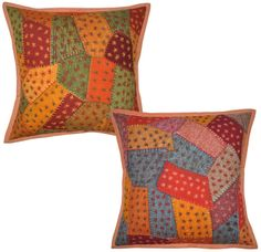India Decor Cushion Covers Patchwork Pillow Cases Cover Throw Pair 16X16 BDS EHS