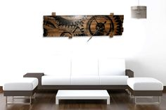 Giant Wall Clock with Clock Gears Art on by BubingaArtistry