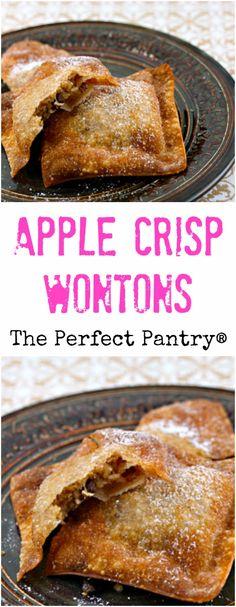 kid-friendly dessert, these apple crisp wontons look fancy, but they ...