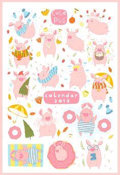 Funny pig - calendar 2019 by Artnis on @creativemarket #pig #funny #illustration #ad