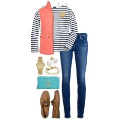 A fashion look from August 2014 featuring J.Crew t-shirts, AG Adriano Goldschmied jeans and Sperry Top-Sider shoes. Browse and shop related looks.
