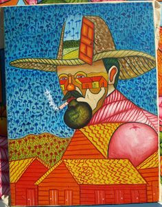 Dominican folk naive abstract painting Sancho and by MyBeachStore, $129.00