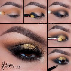"Gorgeous tutorial by @elymarino using the #MotivesMavens Dynasty palette! STEPS: 1.Begin by applying ""Venus"" slightly above the crease 2.Taking ""Medusa"" apply to both the inner & outer corners of the eyes 3.Using ""Nefertiti"" blend in the crease connecting both the inner and outer corner color (Medusa) 4.Pat ""Luna"" to the very middle of the lid (Where their is no shadow) make sure everything is well blended (Between the black and Gold) 5.Line the eyes with ""LBD"" gel liner and smudge out using…"