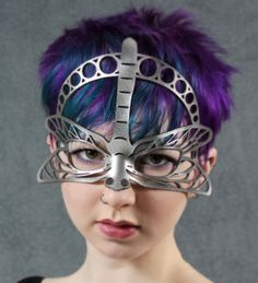 Dragonfly leather mask in silver. $39.00, via Etsy.