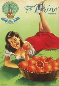 1951 Perino Oranges Italian vintage advert poster