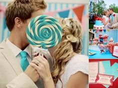 Cute Carnival Photo ops. I think these two had real ferris wheel etc. @ their wedding.