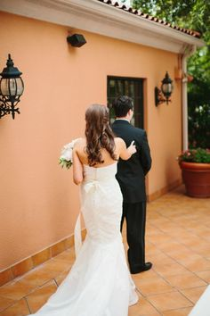 Classic Mansion Wedding | Blue, White, Blush, Red | Bride and Groom | First Look