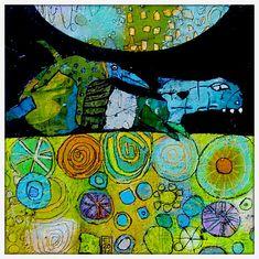 Elke Trittel acrylic collage 20x20cm