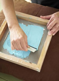 Do it yourself screen-printing, use fabric and mod podge to create screen