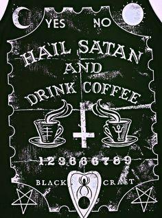 Hail Satan and drink Coffee Satanic Art, Satanic Rules, Arte Obscura, Occult Art, Baphomet, Arte Horror, Dark Wallpaper, Halloween Wallpaper, Gothic Art