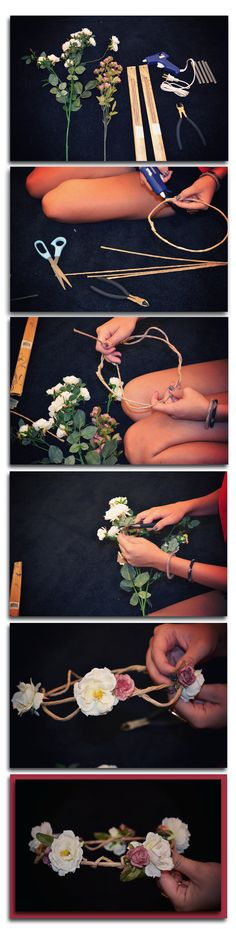 #DIY floral headpiece. I did this for my flower girls :) super easy and WAY cheaper than real flowers