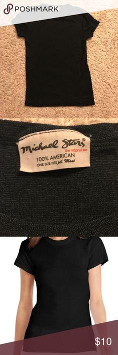 MICHAEL STARS Black Shine Crew Neck SS Tee Shirt MICHAEL STARS - back shine cree neck tee shirt  - short sleeve  NEVER WORN Michael Stars Tops Tees - Short Sleeve